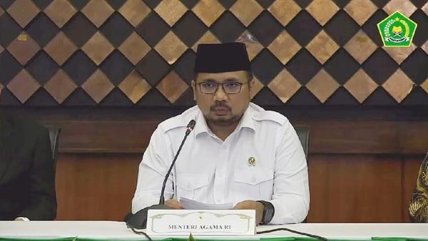 Menag Yaqut Cholil Qoumas mengumumkan pembatalan Haji 2021 (Foto: dok. YouTube Kemenag)