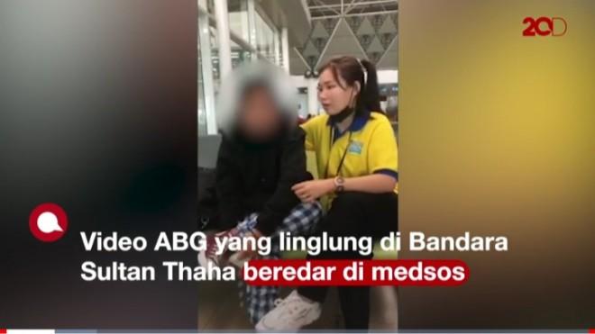 ABG Nangis di Bandara Jambi, Foto: Tangkapan layar di Vidio 20 Detik.com