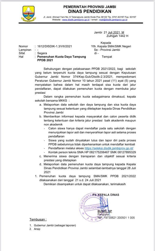 Surat yang dikeluarkan oleh Dinas Pendidikan Provinsi Jambi